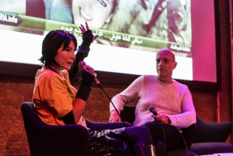 Donatella Della Ratta and Geert Lovink during the book launch Shooting a Revolution. Visual Media and Warfare in Syria