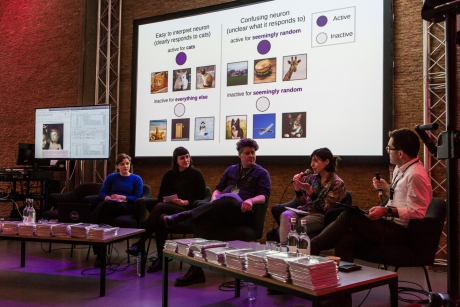 The panelists of Machine Feeling at transmediale 2019. Photo: Laura Fiorio, transmediale, CC BY NC-SA 4.0