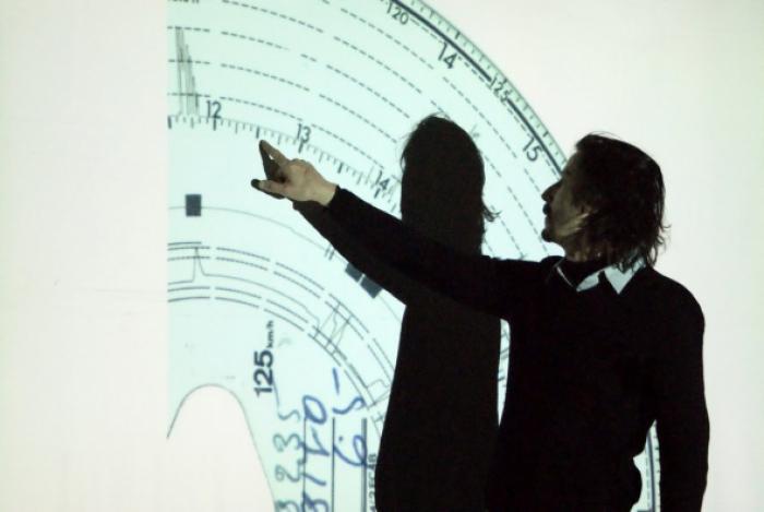 Julien Maire at iMAL (photo: Alexandre Causin)