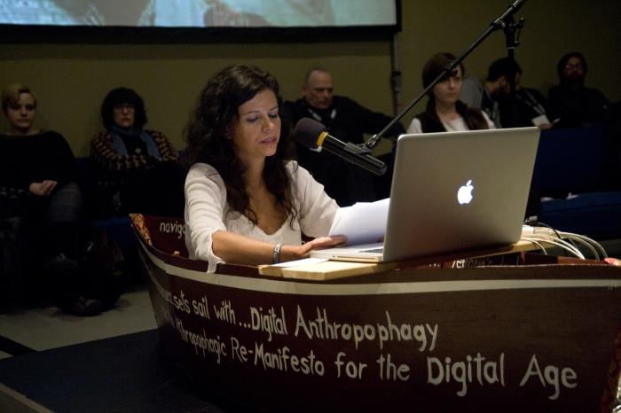 "Picture of Vanessa Ramos-Velasquez at ""Digital Anthropophagy and the Anthropophagic Re- Manifesto for the Digital Age Presentation"""