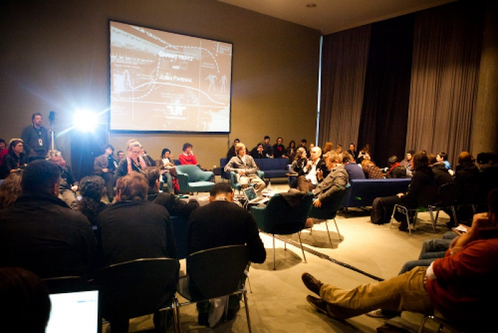 """Picture of Jussi Parrika at """"Zombie Media Talk: Circuit Bending Media Archaeology into Art"""""""