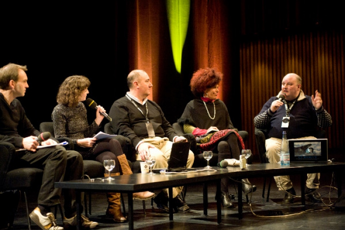 """Picture of """"Radio Tactics"""" with Eric Kluitenberg, Geraldine de Bastion, Douglas Arellanes, Diana McCarty and Jonathan Marks (left to right)"""