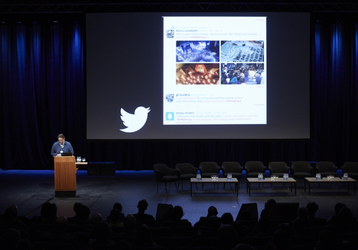 """Picture of Nishant Shah introducing """"The Post-Digital Review: Cultural Commons"""""""