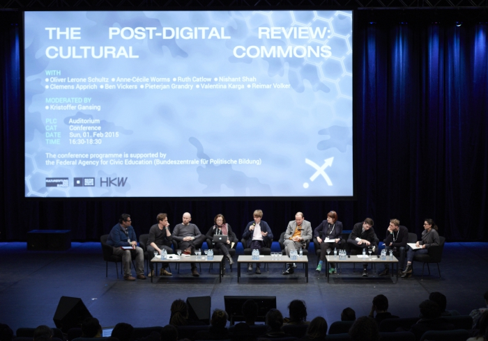 """Picture of Nishant Shah, Clemens Apprich, Oliver Lerone Schultz, Anne-Cécile Worms, Kristoffer Gansing, Volker Reimar, Ruth Catlow, Ben Vickers, Pieterjan Grandry and Valentina Karga at """"The Post-Digital Review: Cultural Commons"""""""