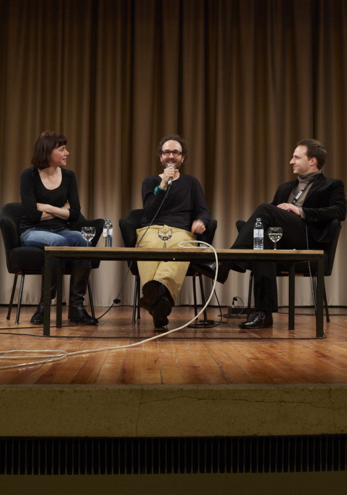 """Picture of Gwenola Wagon, Stéphane Degoutin and Alain Bieber (left to right) at """"ARTE Creative at transmediale: World Brain"""""""