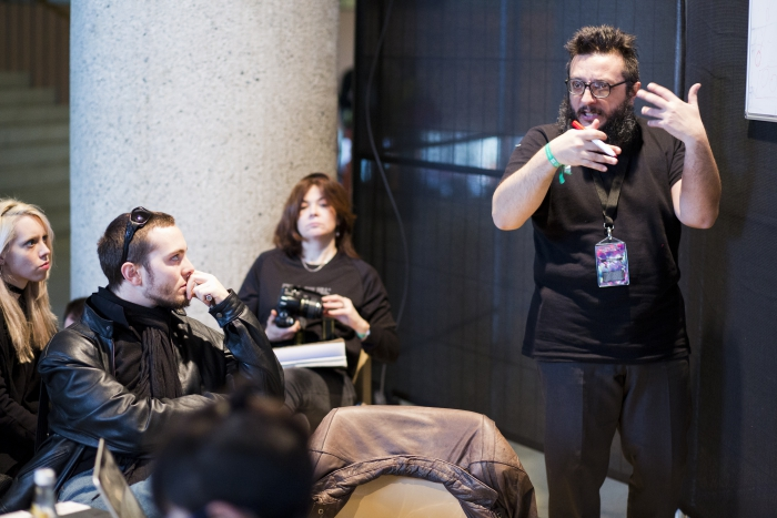 "Picture of Salvatore Iaconesi leading the workshop ""Ubiquitous Commons"""