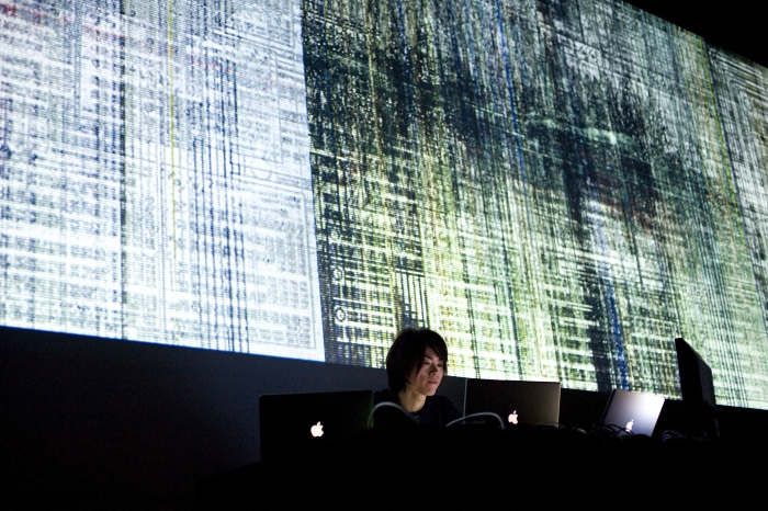 """Picture of """"Parallel Head"""", performance by and with Ryoichi Kurokawa"""