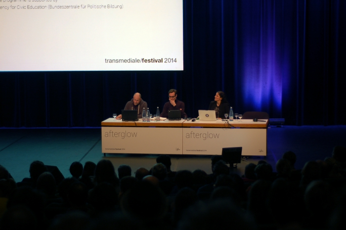 """Picture of Trevor Paglen, Jacob Appelbaum and Laura Poitras (left to right) at """"Keynote: Art as Evidence"""""""