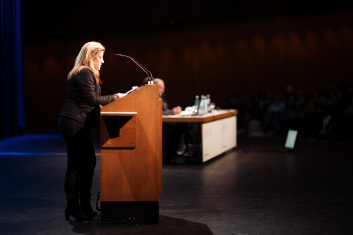 """Picture of Tatiana Bazzichelli introducing """"Keynote: Art as Evidence"""""""