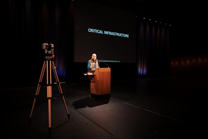 "Picture of Jamie Allen at ""afterglow effects: transmediale 2014 opening ceremony"""