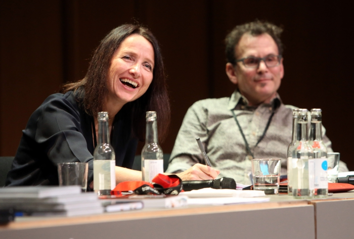 """Natalie Fenton and Robert Latha at """"Friendly Fire: What Is It to Re-think Radical Politics, Today?"""", transmediale 2017"""