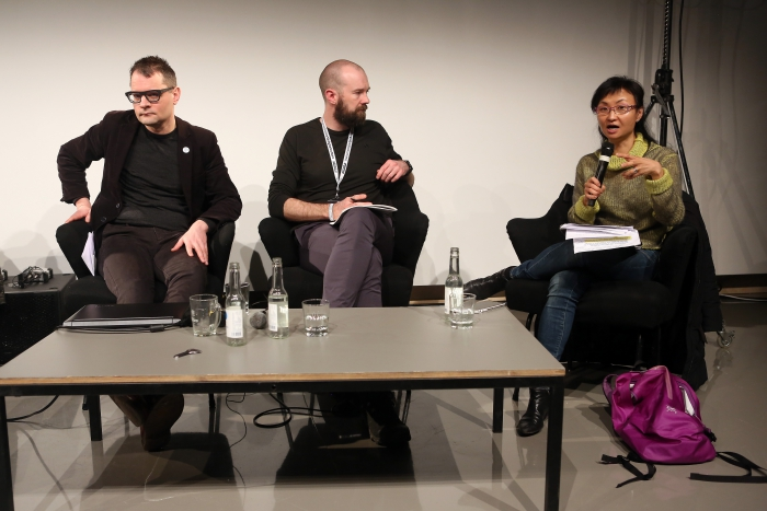 """Florian Cramer, Finn Brunton and Wendy Hui Kyong Chun at """"Middle Session: The Middle to Come"""", transmediale 2017"""
