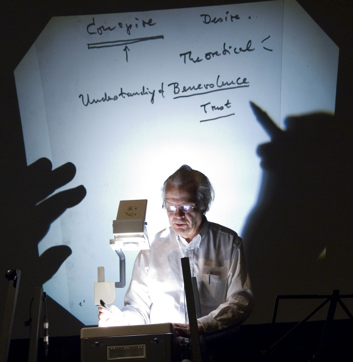"""Otto E. Rössler at the panel """"The Paradox of the Big Bang: Reducing Fear by Accelerating Danger"""", transmediale 2008."""