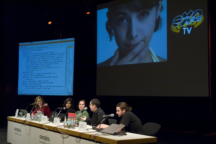 """Impression of """"Session 5: Web 3.0: Conspiring To Keep The Net Public"""", transmediale 2008."""