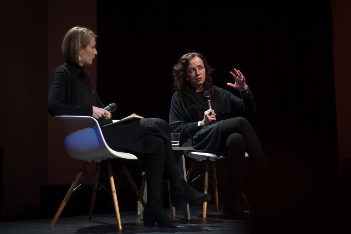 """Elvia Wilk (left) in conversation with Joanna Zylinska (right) at the talk """"Nonhuman Photography: Dispatches from the End of the World"""", transmediale 2017."""