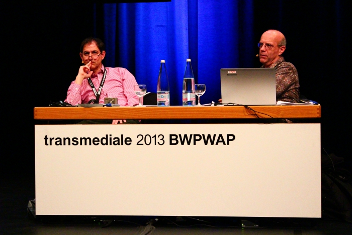 "Craig Saper and Geert Lovink  at ""BWPWAP Networks"", transmediale 2013 BWPWAP."