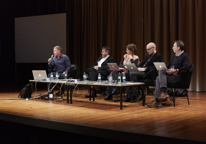 "Picture of Jordan Crandall, Benjamin H. Bratton, Tiziana Terranova, Jussi Parikka and Ryan Bishop (left to right) at ""The Post-Planetary Design: A Speculative Sense"""