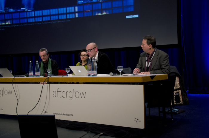 """Picture of Sean Cubitt, Denisa Kera, Jussi Parikka and Ryan Bishop (left to right) at """"The Media of the Earth: Geologies of Flesh and the Earth"""""""