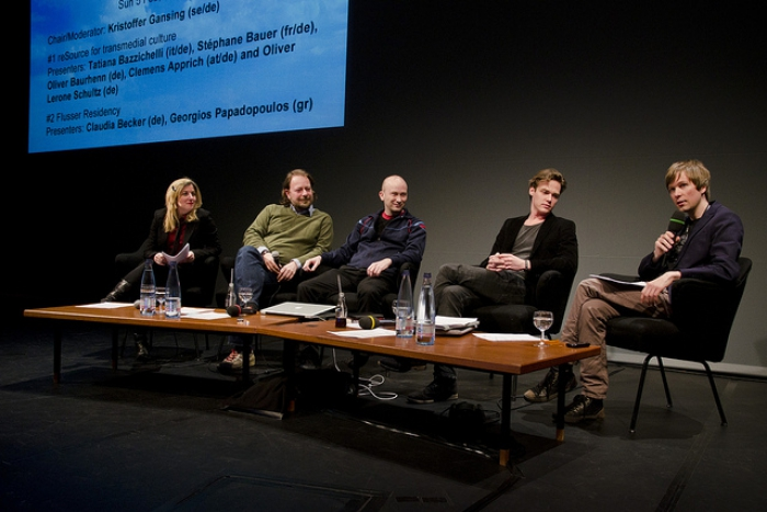 "Tatiana Bazzichelli, Oliver Baurhenn, Oliver Lerone Schultz, Clemens Apprich and Kristoffer Gansing (left to right) at the talk ""Beyond in/compatible"", transmediale 2012."