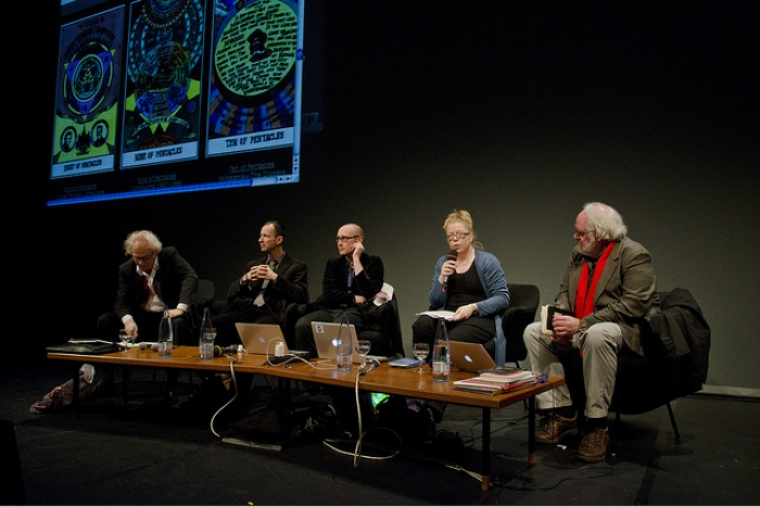 """Siegfried Zielinski, Wolfgang Ernst, Jussi Parikka, Inke Arns and Timothy Druckrey (left to right) at """"Search for a Method"""", transmediale 2012"""