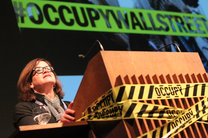"""Keynote """"The Incompatible Public is Occupied"""" by Jodi Dean, transmediale 2012 in/compatible."""