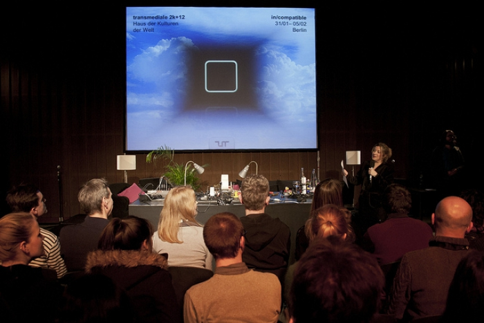 """Tatiana Bazzichelli introduces """"reSource for transmedial culture"""", transmediale 2012 in/compatible."""