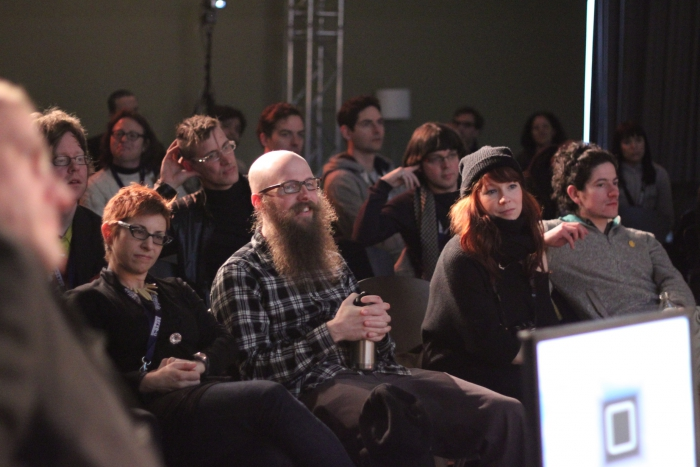 """Impression of """"reSource Launch - Zombie Play in the Ludic Salon: reSourcing an Exquisite Media Corpse"""", transmediale 2012 in/compatible."""