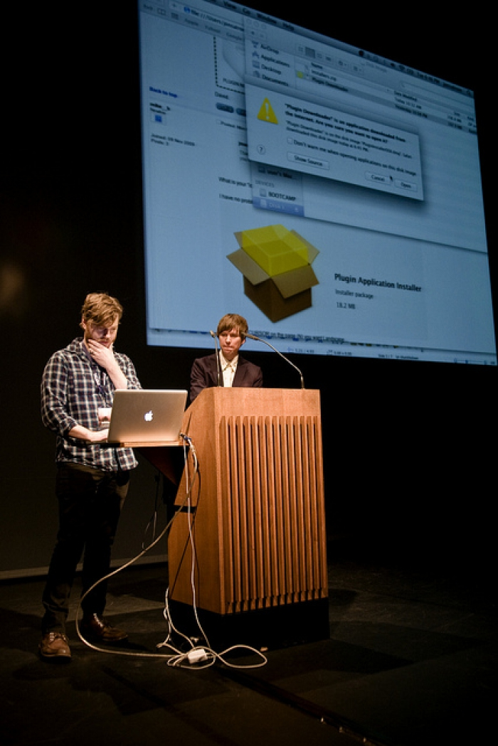 jon.satrom (left) and Kristofer Gansing at the opening ceremony of transmediale 2012 in/compatible.