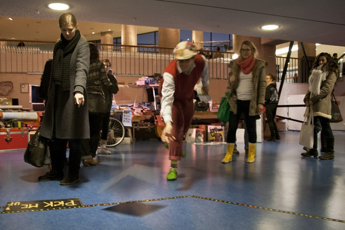 """Impression of """"MORT AUX VACHES EKSTRA EXTRA – THE GIVE AWAY!"""" by Goodiepal, transmediale 2012 in/compatible"""