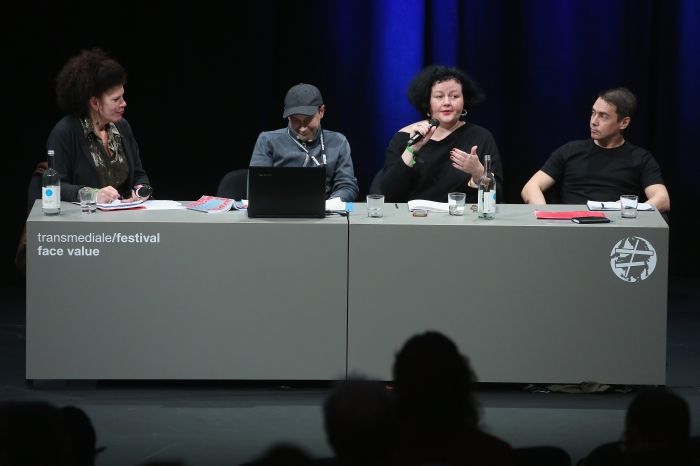 """Diana McCarty, Alex Foti, Ewa Majewska, and Rasmus Fleischer (left to right) at the panel """"The Many Faces of Fascism"""""""