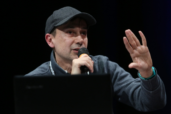 """Alex Foti at the panel """"The Many Faces of Fascism"""" at transmediale 2018 face value"""