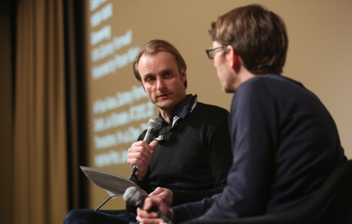 """Florian Wüst interviewing Zachary Formwalt after the screening""""Safe Investment"""" at transmediale 2018 face value"""