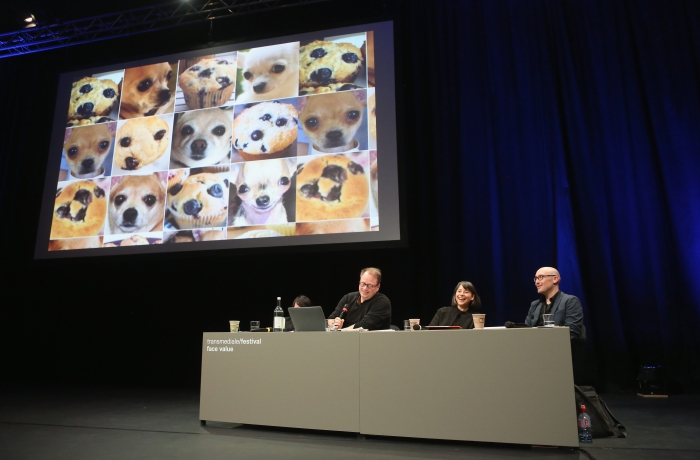 "Impression of the panel ""Biased Futures"" at transmediale 2018 face value."