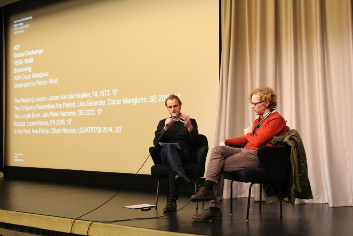 """Florian Wüst in conversation with Oscar Mangione after the screening """"Global Exchange"""""""