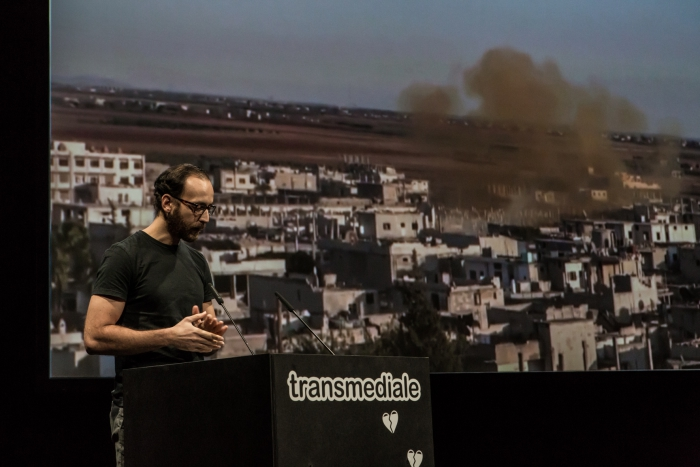 Hadi Al Khatib (Syrian Archive) during the panel Building Archives for Evidence and Collective Resistance