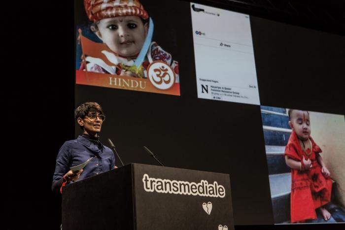 Nayantara Ranganathan during the panel Affects Ex-Machina: Unboxing Social Data Algorithms at transmediale 2019
