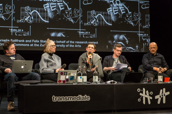 Jeremy Gilbert, Cornelia Sollfrank, Laurence Rassel, Felix Stalder, and Gary Hall (left to right) during the panel Creating Commons: Affects, Collectives, Aesthetics