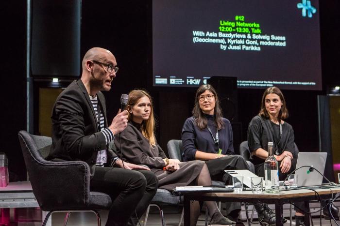 Jussi Parikka, Asia Bazdyrieva & Solveig Suess (Geocinema), and Kyriaki Goni (left to right) during the talk Living Networks