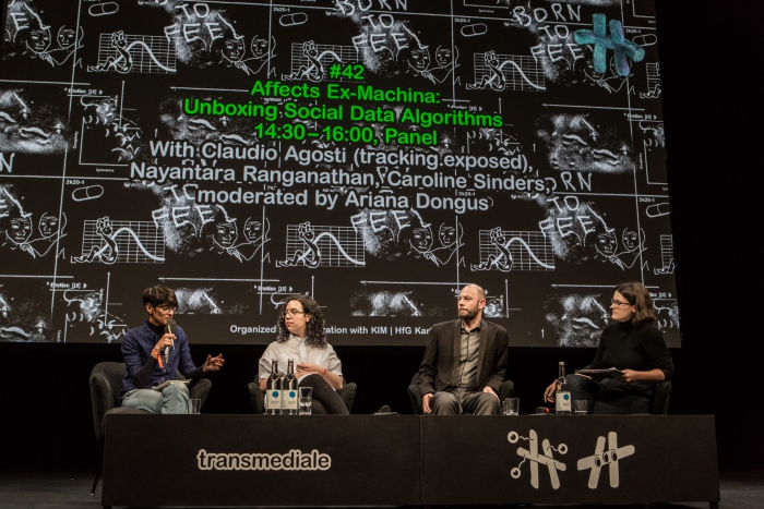 Nayantara Ranganathan, Caroline Sinders, Claudio Agosti (tracking.exposed), and Ariana Dongus (left to right) during the panel Affects Ex-Machina: Unboxing Social Data Algorithms
