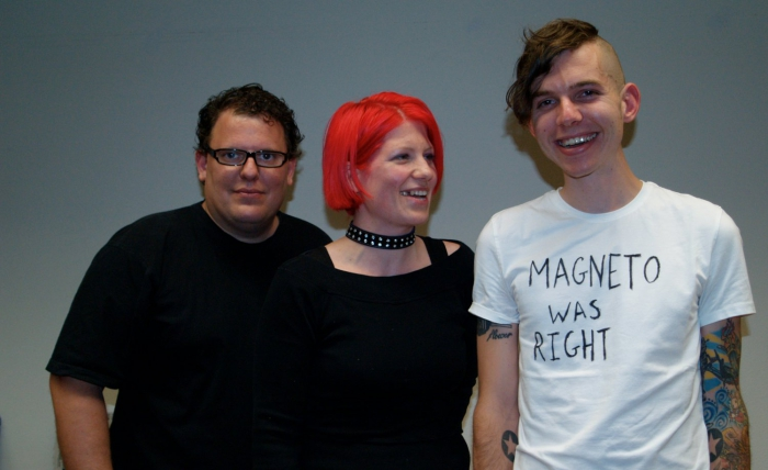 Image: UBERMORGEN.COM, Hans Bernhard (left) and lizvlx (center) with Chris Arend